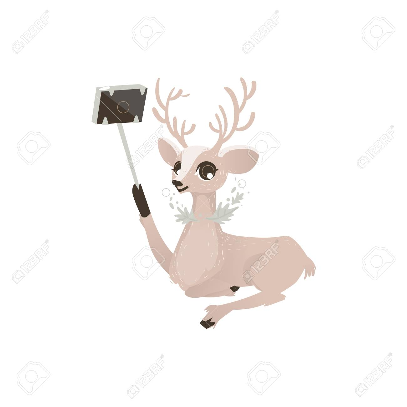Vector Flat Cartoon Cute Female Christmas Reindeer Making Selfie