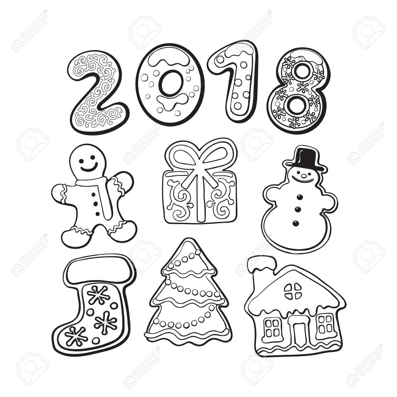 Ensemble De Biscuits De Pain Dépice Maison éléments De Noël Et Numéros 2018 Illustration De Vecteur De Croquis Isolé Sur Fond Blanc Biscuits De