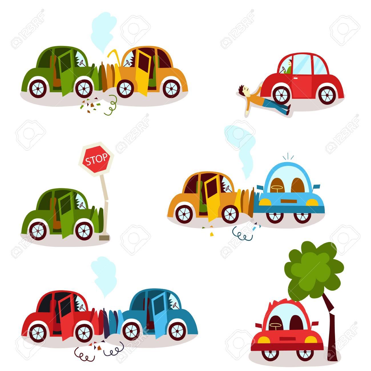 Car Accident, Motor Vehicle Collision, Fender Bender Set, Cartoon ...