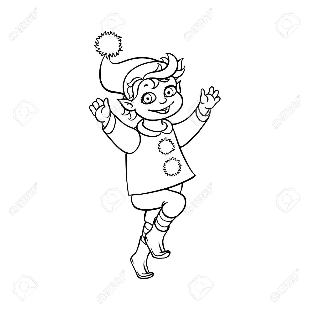 Vector Plano Monocromo Navidad Elfo Niño Bailando O Saltando Sonriente Levantando Las Manos Hada Carácter Vacaciones En Navidad Santa Hat