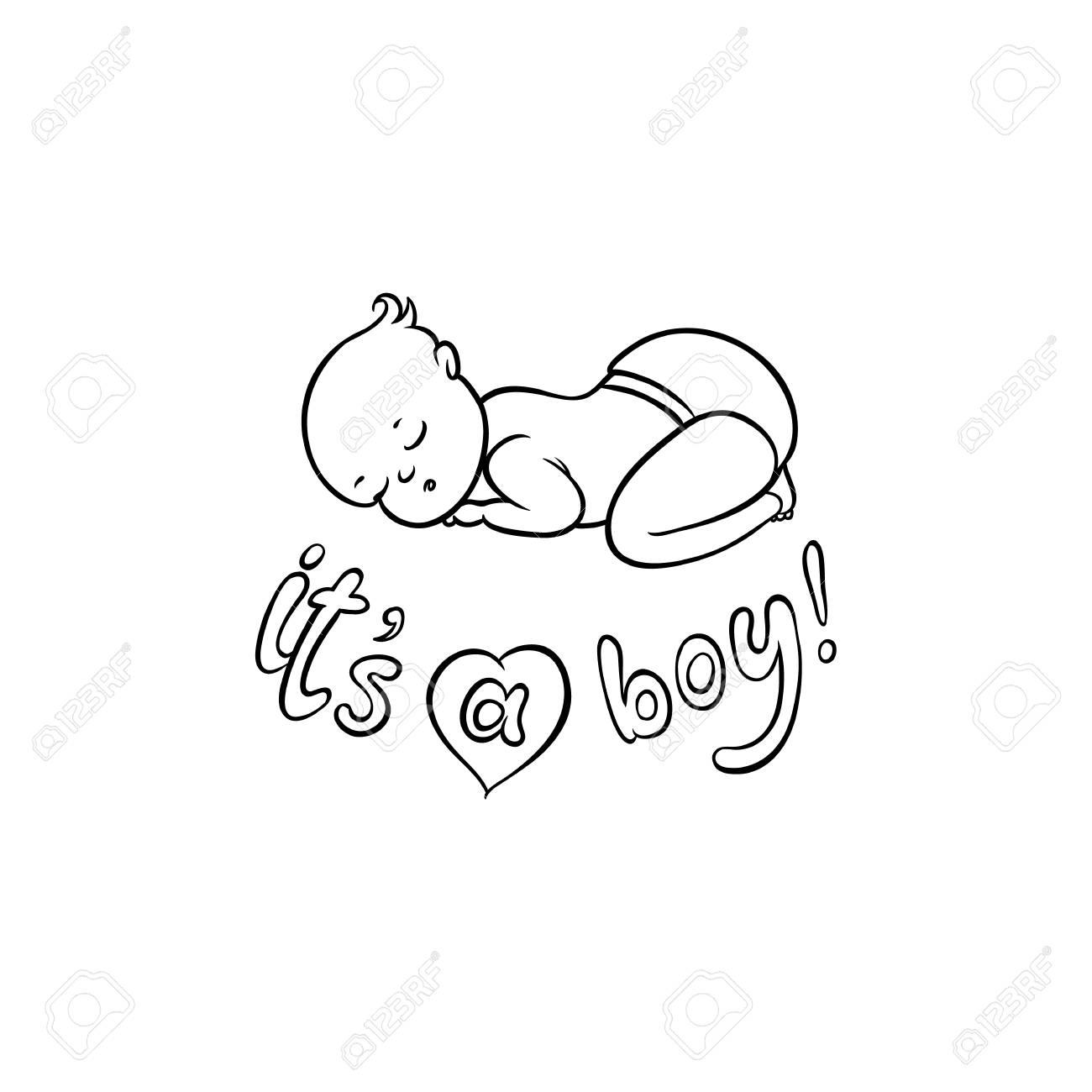 Vector Flat Monochrome Style Newborn Cute Infant Baby Boy Toddler