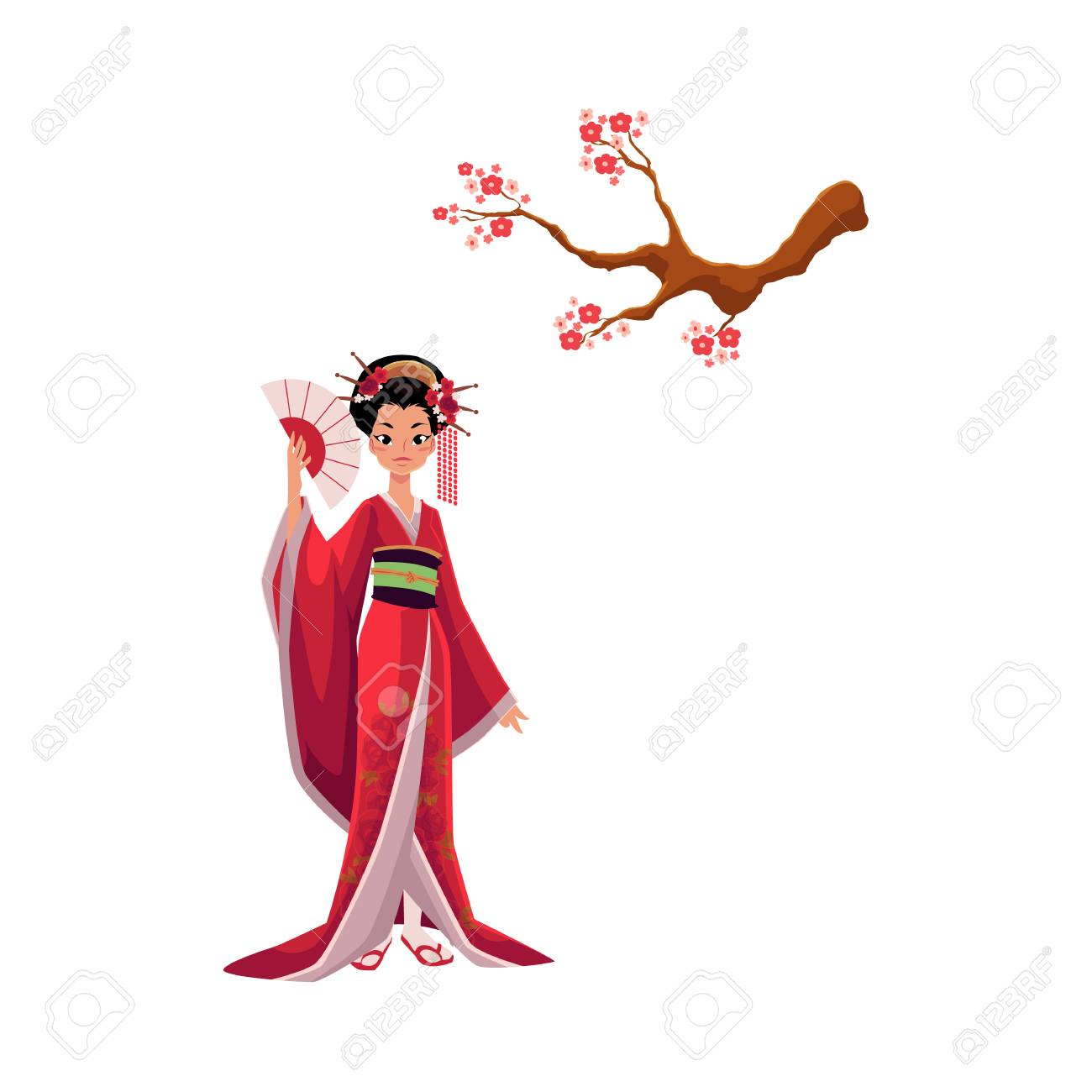 Geisha In Kimono And Blooming Cherry Tree Sakura Branch Symbols Royalty Free Cliparts Vectors And Stock Illustration Image 88223232 Looking for japanese tree cartoon psd free or illustration? geisha in kimono and blooming cherry tree sakura branch symbols