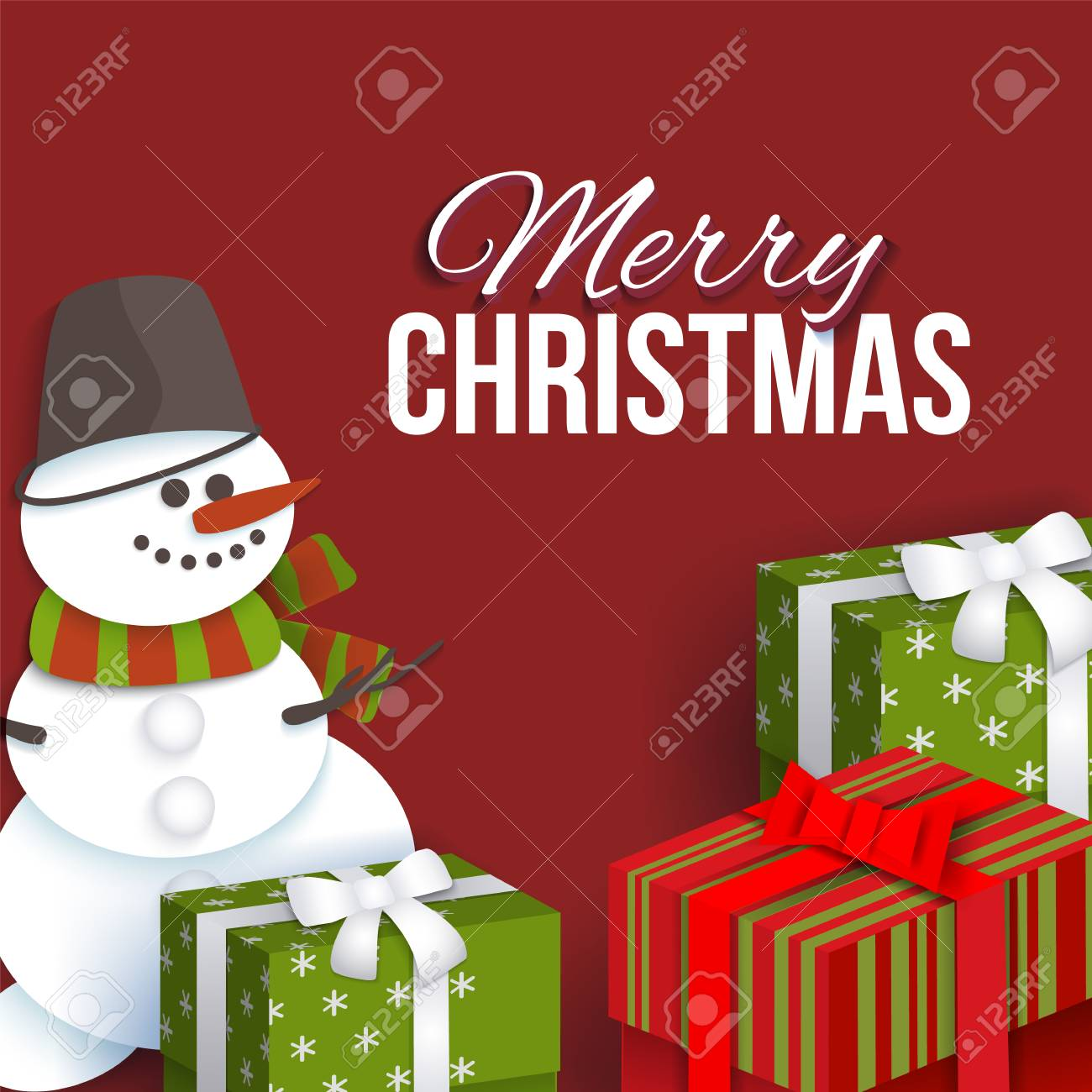 Merry Christmas Greeting Card Template With Paper Cut Snowman