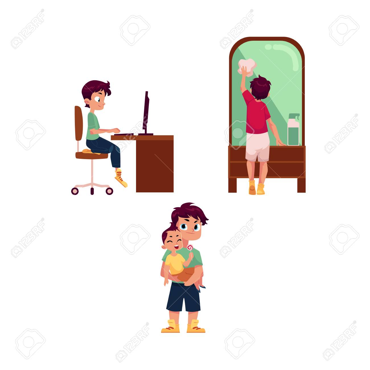 vector vector flat cartoon teen boy kid doing household chores cleaning big mirror by rag doing homework sitting at computer desk taking care of
