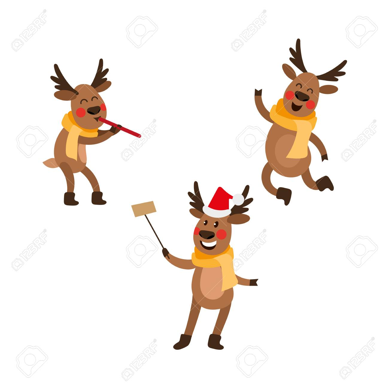 vector flat male christmas reindeer in scarf jumping dancing rh 123rf com Olaf Clip Art Clip Art Hats Scarves Mittens