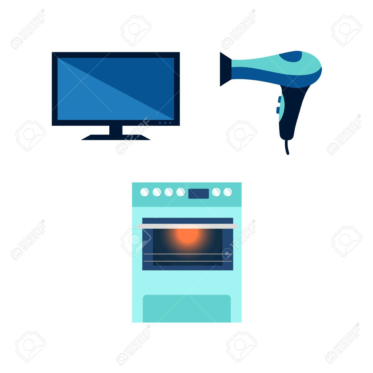 Vector Flat Cartoon Modern Consumer Electronics Icon Set. Highly ...