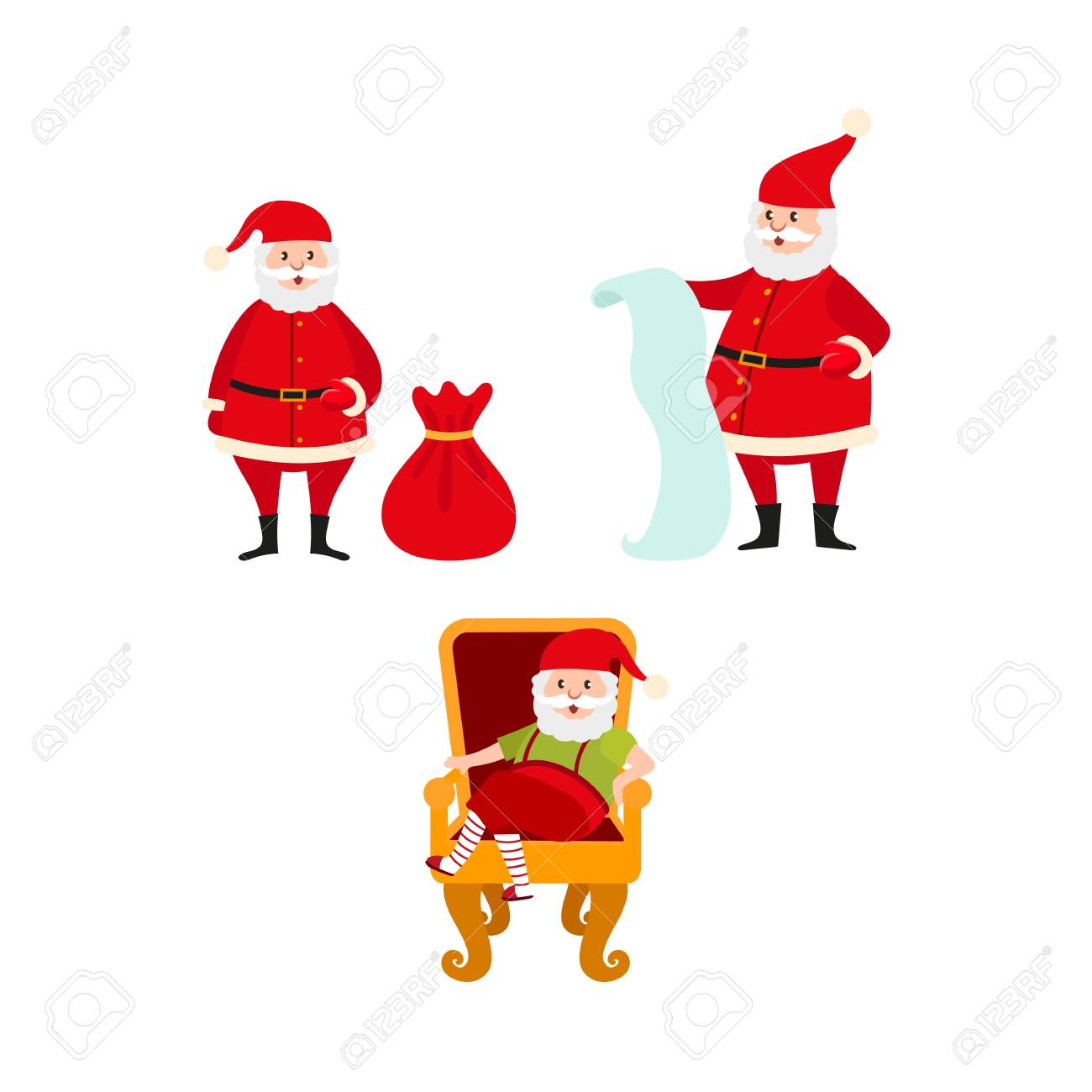 Vector Flat Cartoon Santa Claus In Christmas Stockings And Hat ...
