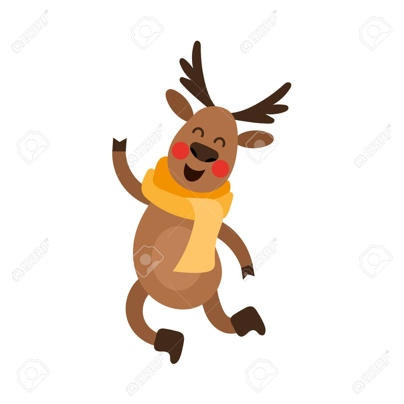 Vector Flat Cartoon Cute Male Christmas Reindeer In Red Scarf