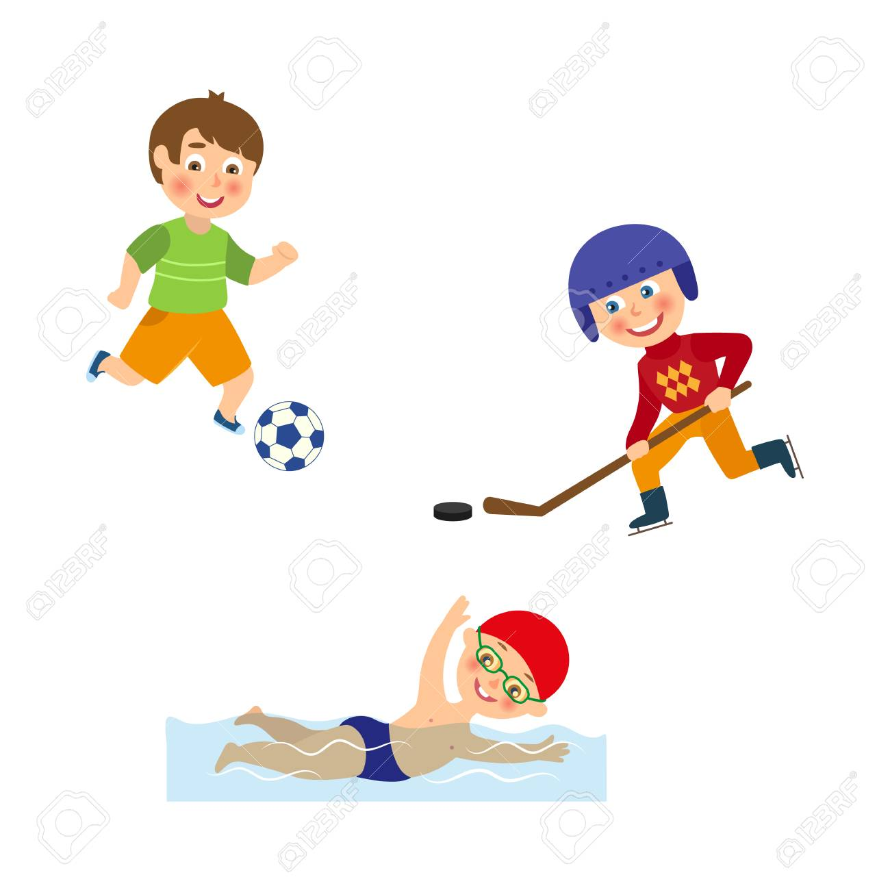 Vector Flat Cartoon Funny Young Teen Kids Doing Sports Set Boys Royalty Free Cliparts Vectors And Stock Illustration Image 88347920