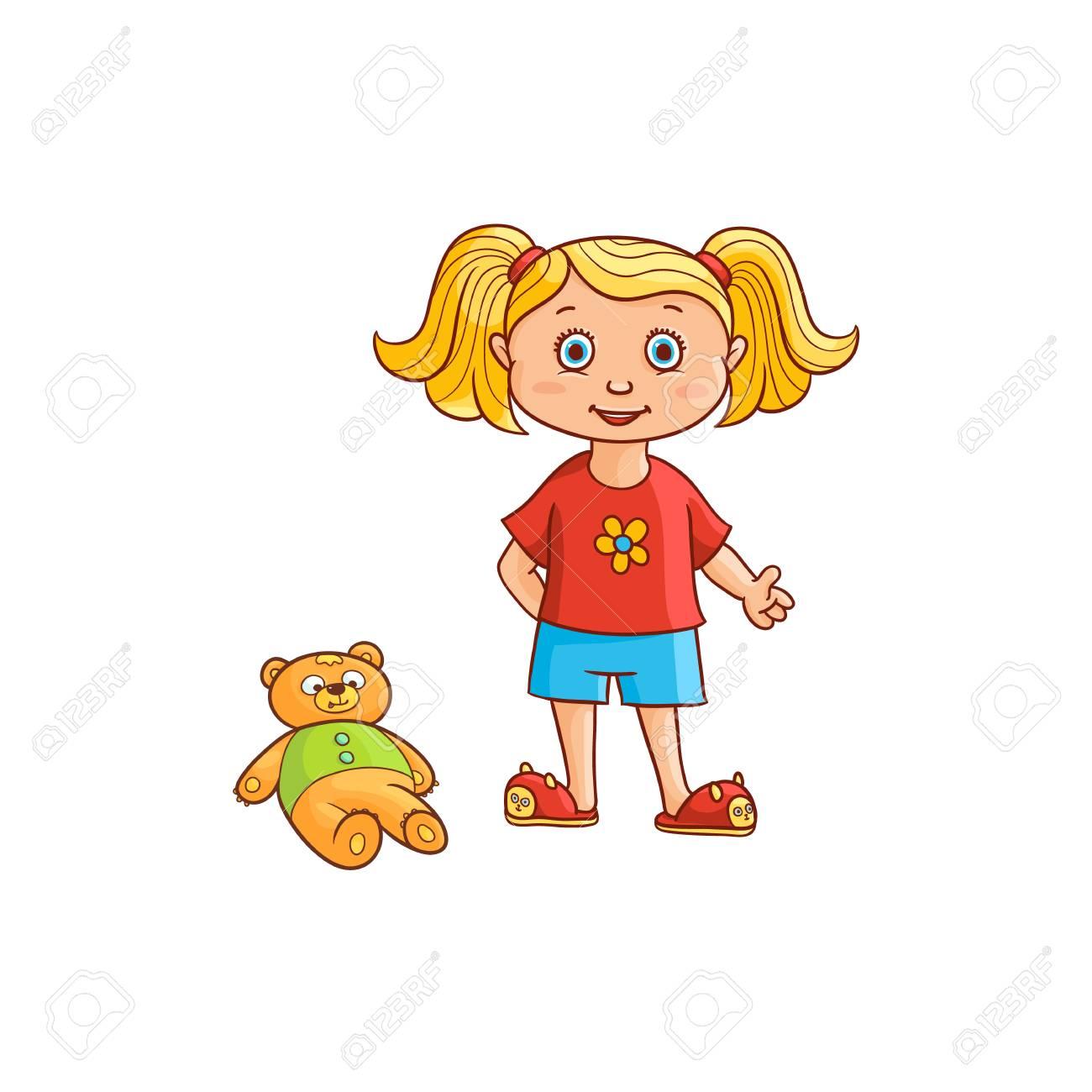 Vecteur Plat Dessin Animé Fille Mignonne Enfant Enfant Avec Des Nattes En Vêtements Drôles Et Pantoufles De Chat Avec Ourson Près Illustration Isolée