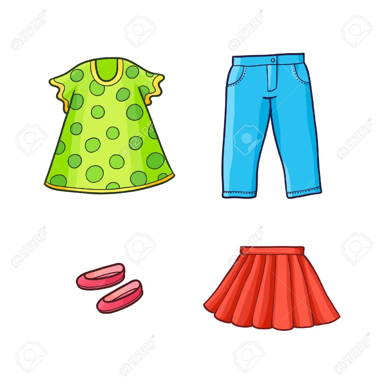 8a386db60 Conjunto de ropa de vector niño de dibujos animados plana niño equipo -  vestido punteado verde, zapatos rojos y falda, pantalones de mezclilla  azul. ...