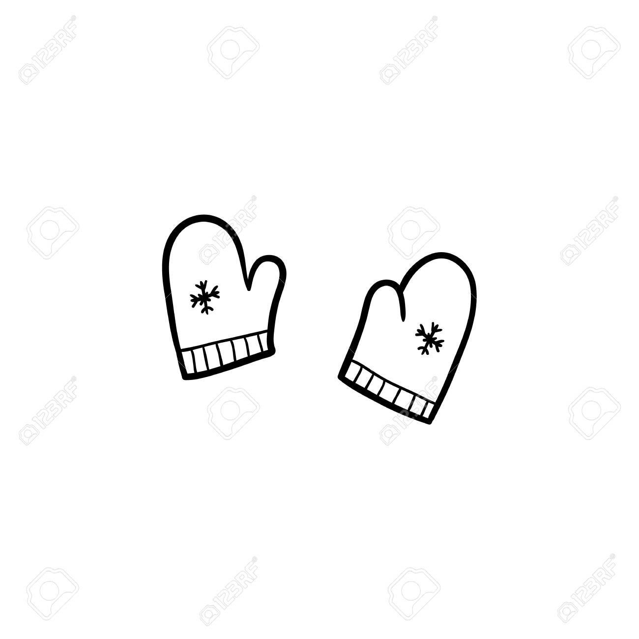 Vector De Dibujos Animados Plana Bebe Monocromo De Punto Guantes