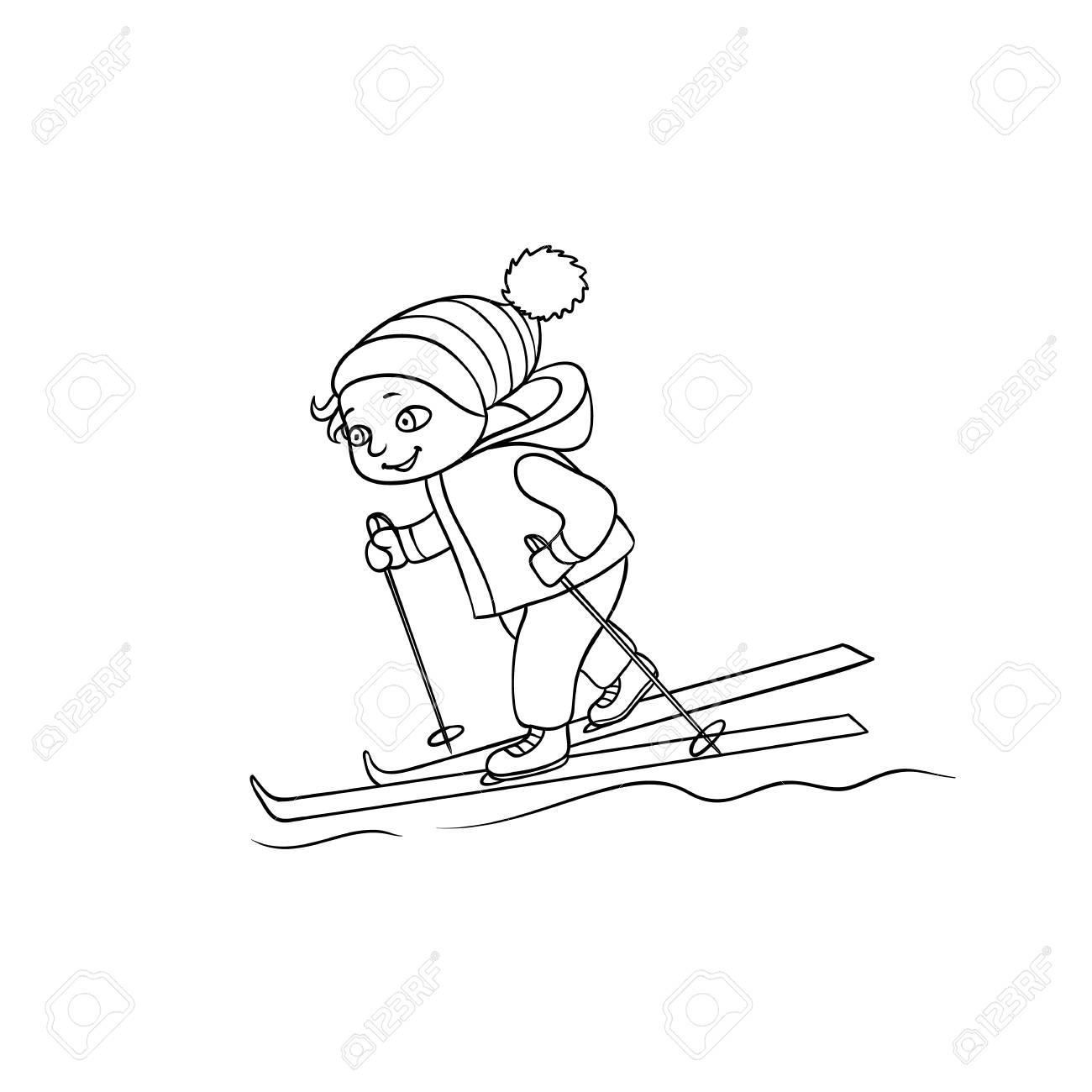 Heureux Petit Garcon Ski Activite De Sport D Hiver Illustration De