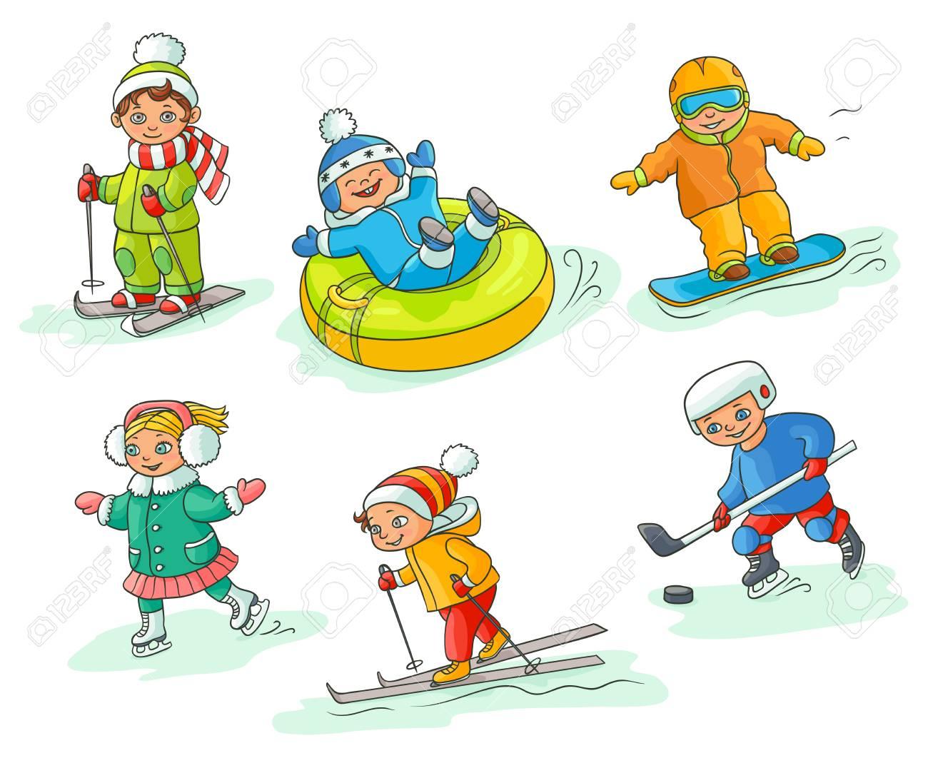 Kids Having Fun In Winter Skiing Snowboarding Ice Skating Royalty Free Cliparts Vectors And Stock Illustration Image 88369431