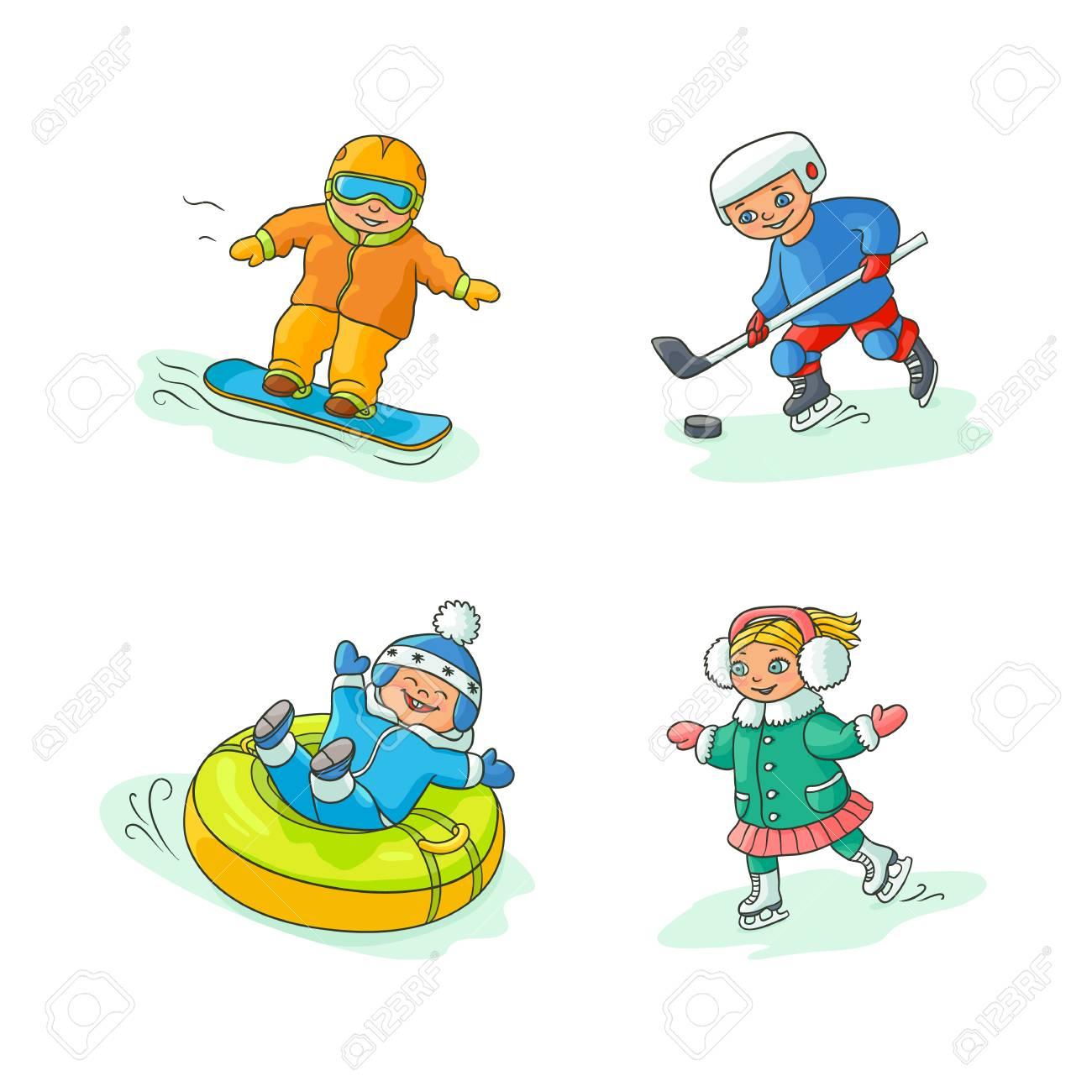 c047837db Vector Flat Kids Doing Winter Outdoor Sport Set. Boy Having Fun ...