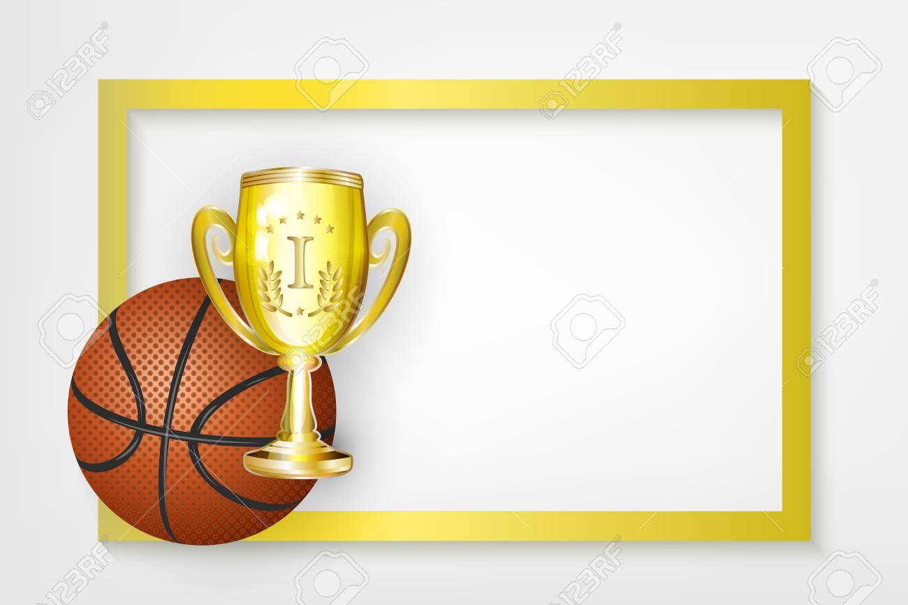 Vector Flat Basketball Ball Golden Cup Winner Trophy Sport