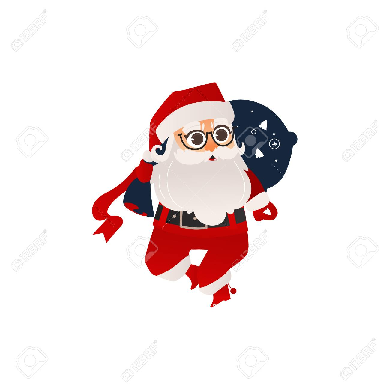 156530150 Vector - vector flat cartoon santa claus in christmas stockings and hat ,  carrying big bag with presents boxes. Holiday illustration isolated on a  white ...