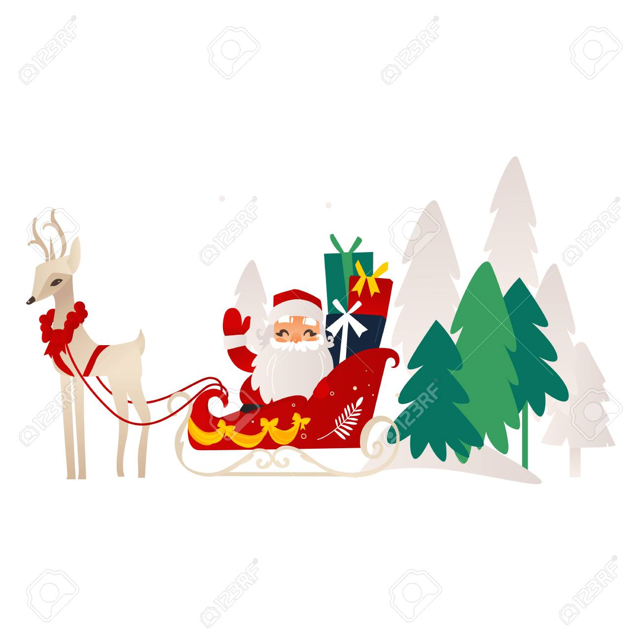 8587a1136 Vector - vector flat cartoon santa claus in christmas stockings and hat  sitting at decorated sleigh riding flying reindeer smiling.