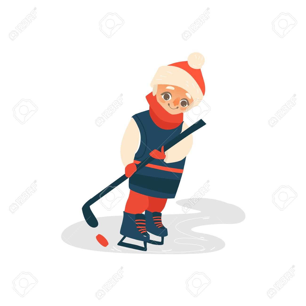 Vector Cartoon Stylized Teen Boy Kid Playing Ice Hockey Standing Royalty Free Cliparts Vectors And Stock Illustration Image 88461744