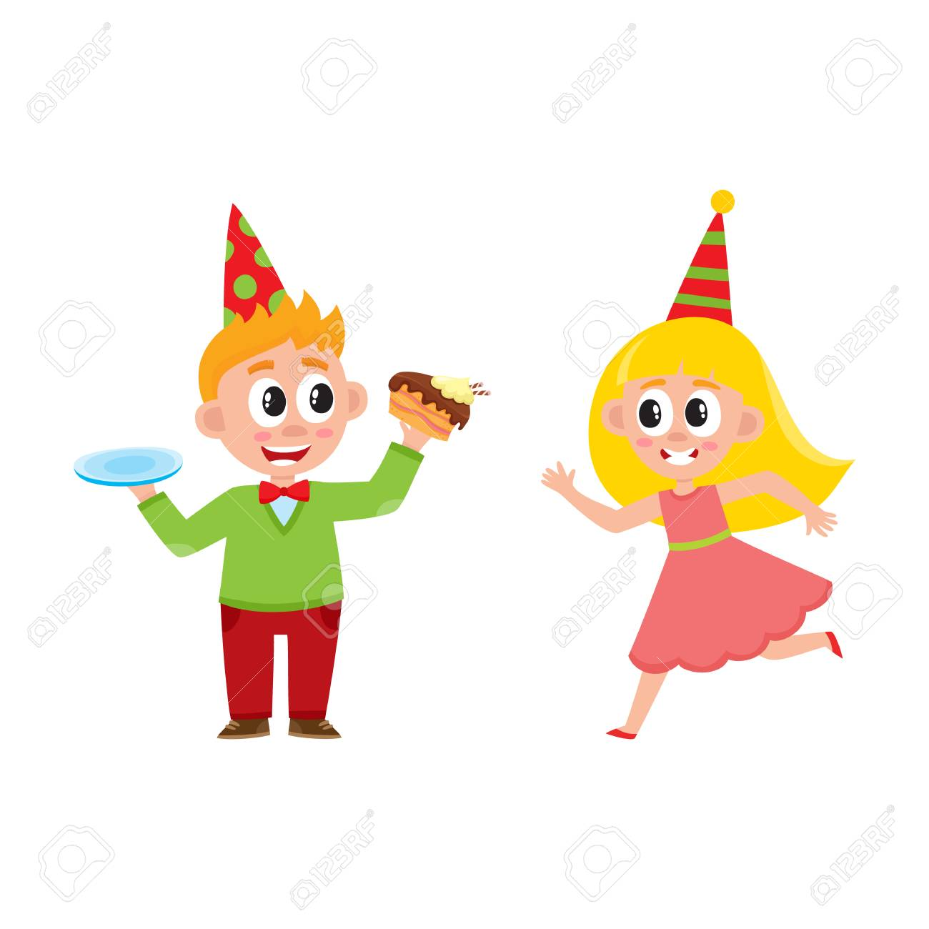 Niño De Dibujos Animados Plano De Vector Niño En Sombrero De Fiesta ...