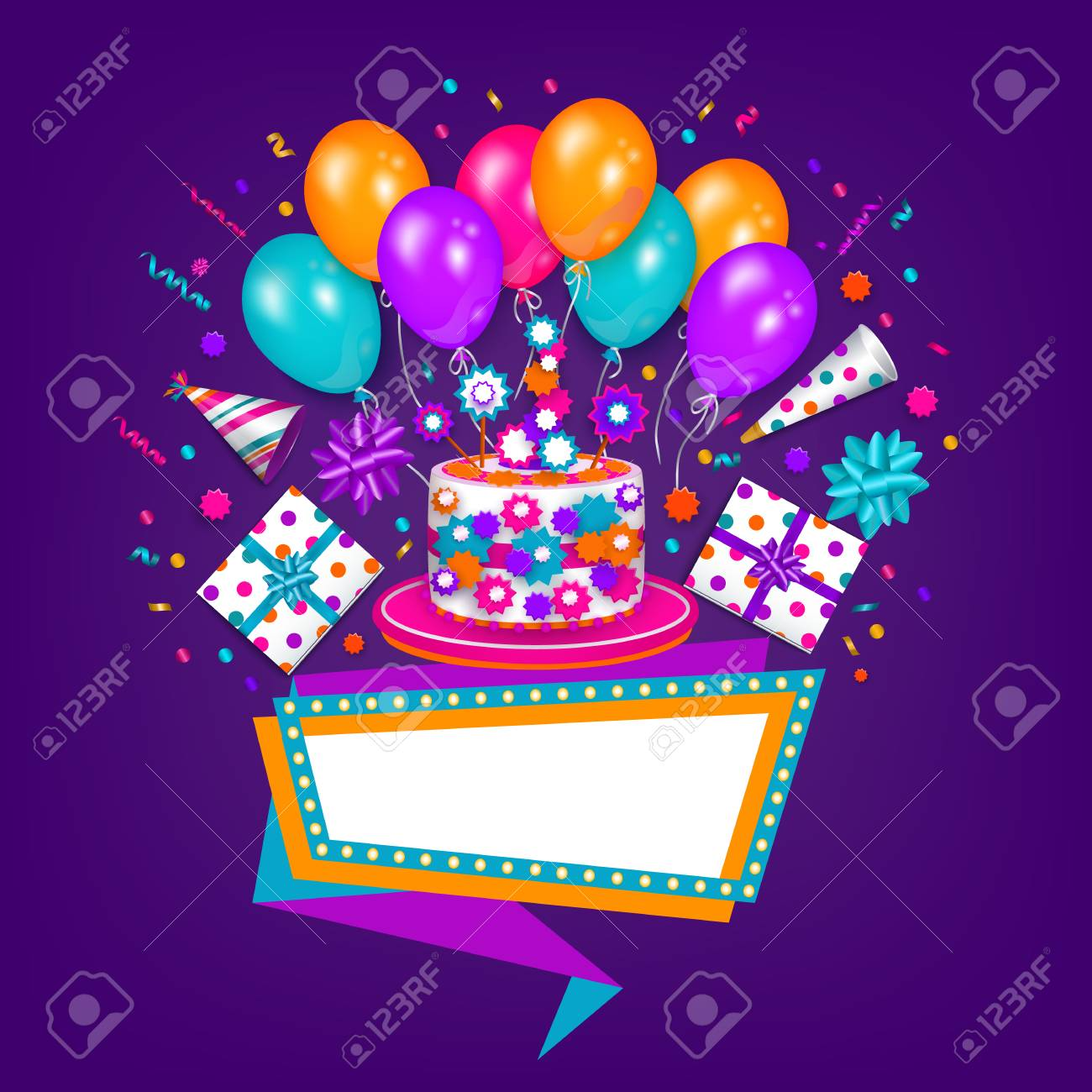 Happy Birthday Greeting Card Poster Design With Cake Present Party Hat Balloon