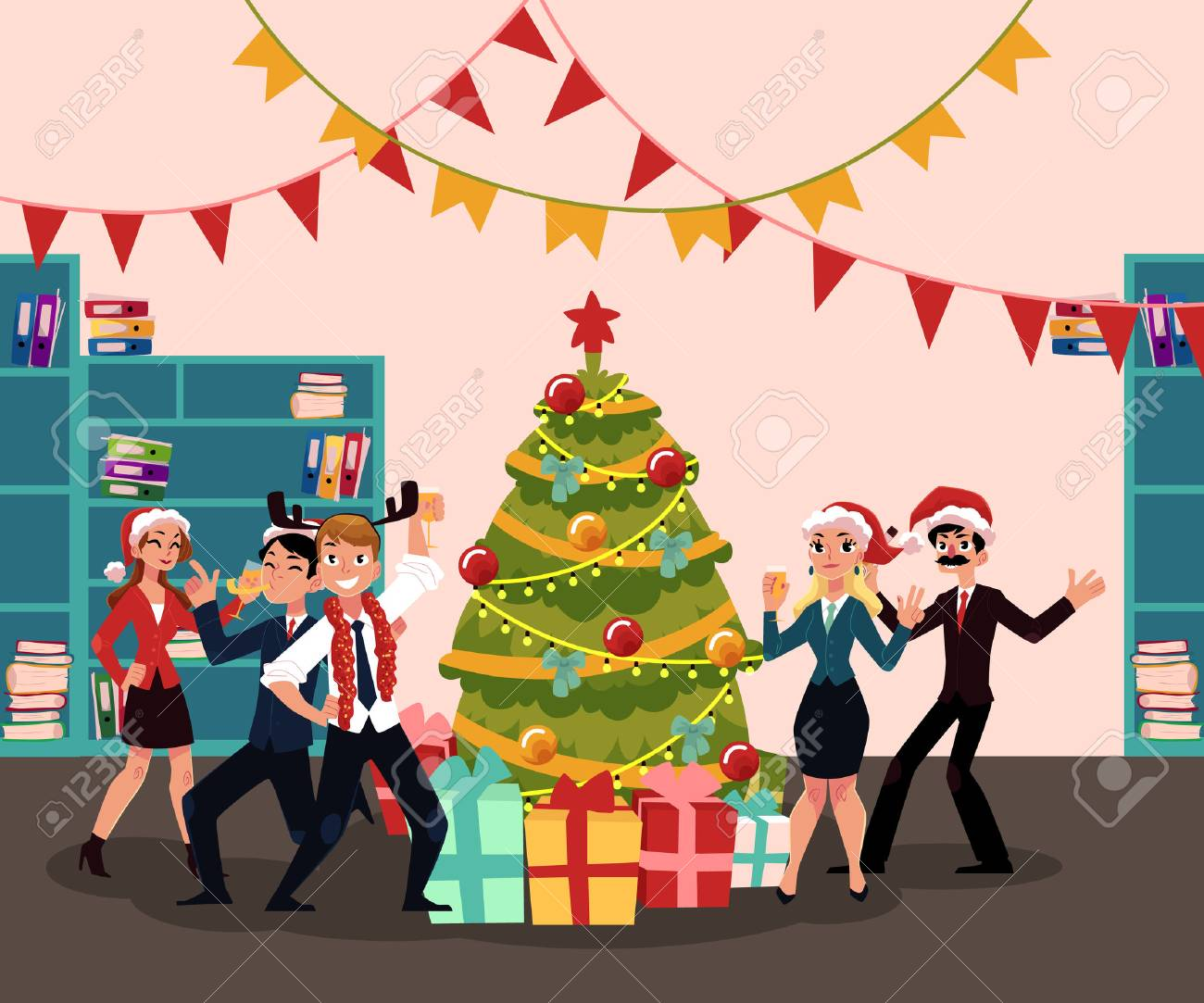 Christmas Party Images Cartoon.People In Santa Claus Hats Having Corporate Xmas Party Celebrating