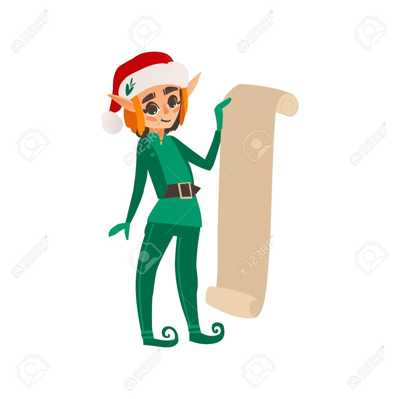 Christmas Elf, Santa Little Helper In Green Clothes Holding Scroll ...