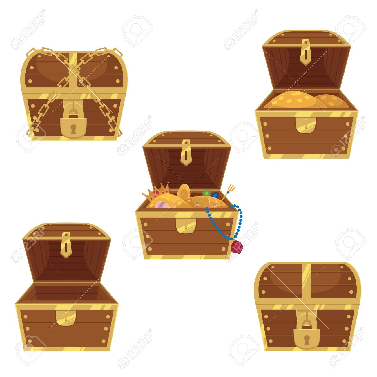 Open and closed pirate treasure chests, locked, empty, full of gold and jewelry, flat style cartoon vector illustration isolated on white background. Set of flat style treasure chests, full and empty - 88835799