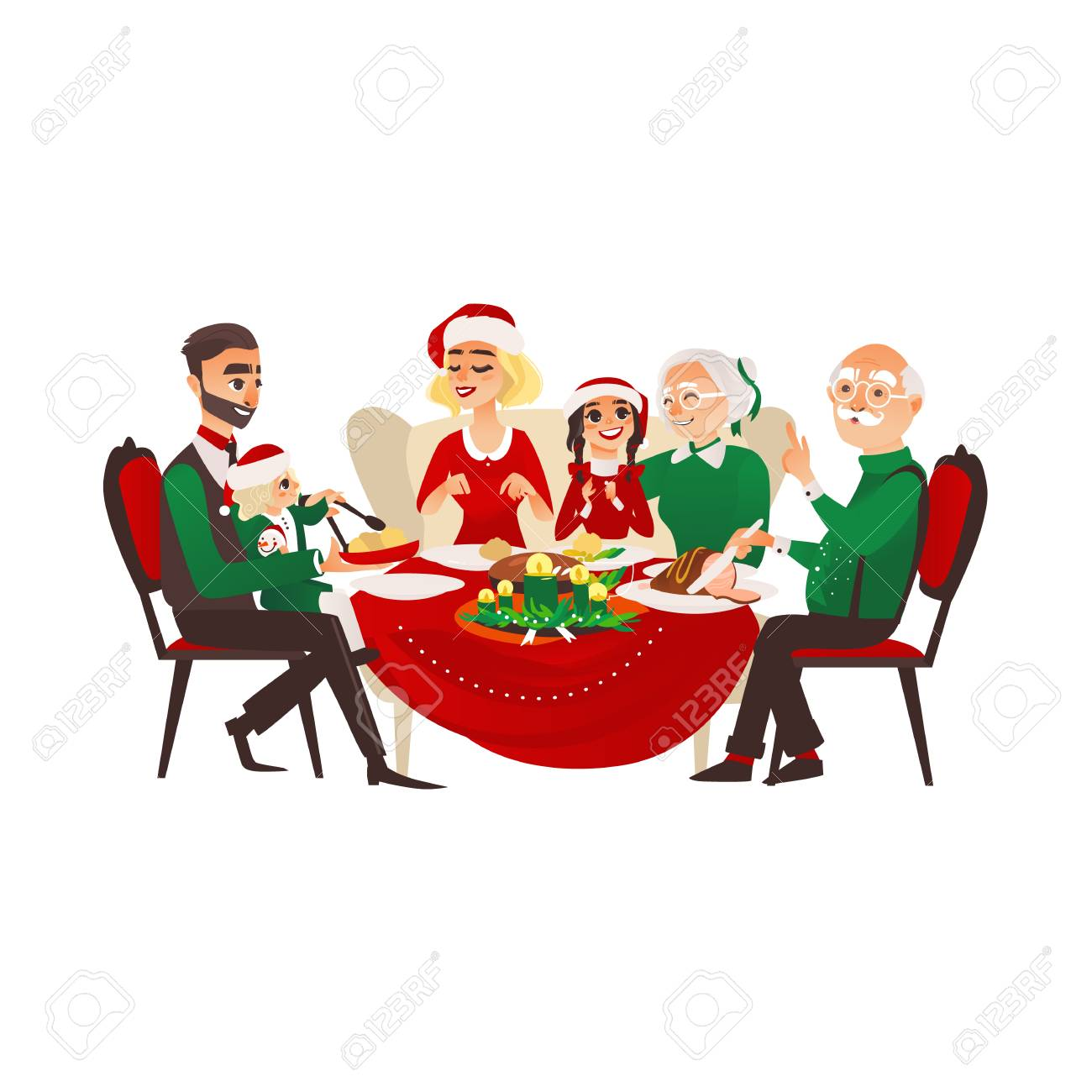 Mother Christmas Cartoon.Vector Cartoon Family In Christmas Hat Celebrating Holiday At
