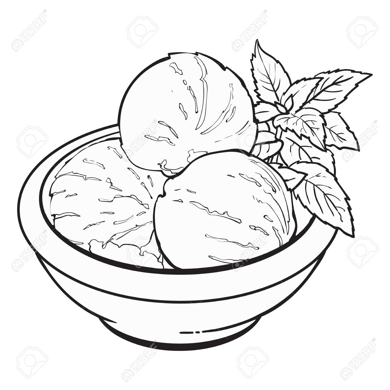 Hand Drawn Black And White Contour Bowl Of Matcha Tea Ice Cream ... for Bowl Of Ice Cream Clipart Black And White  28cpg