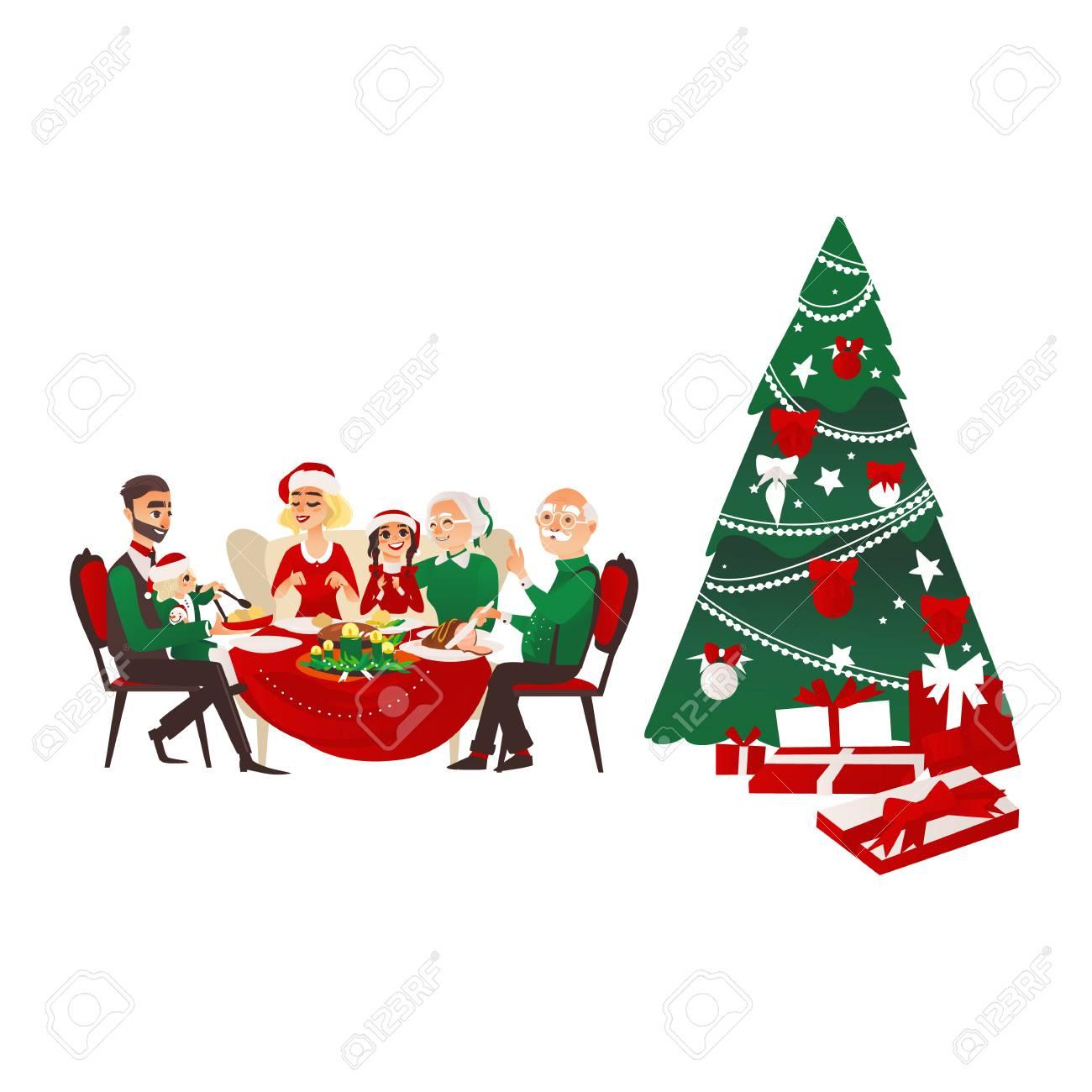 Bonne Grande Famille Celebrant Noel Assis A La Table Sapin De