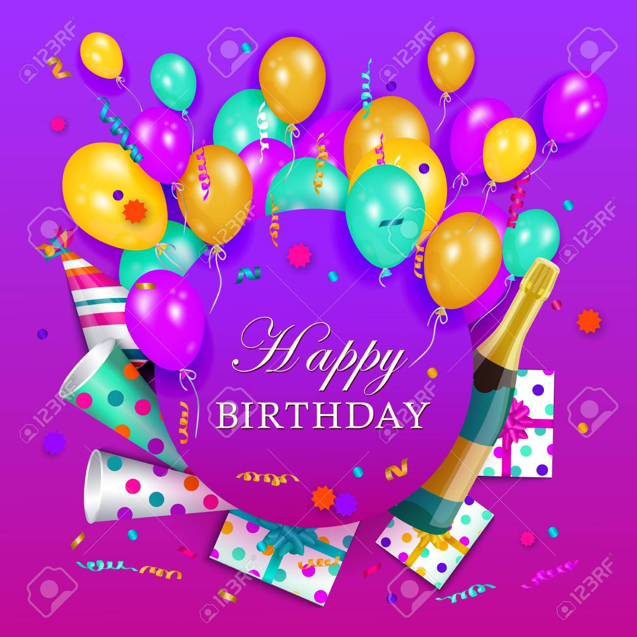 vector happy birthday congratulatory card poster banner design