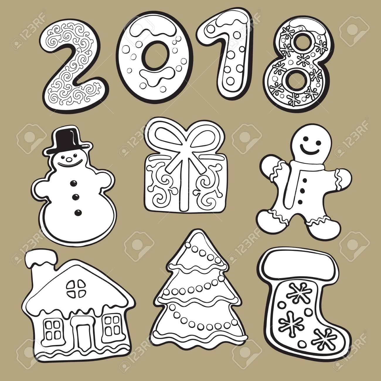 Noir Et Blanc De Biscuits De Pain Dépice Maison éléments De Noël Et Numéros De 2018 Illustration De Vecteur De Croquis Isolé Sur Fond Blanc