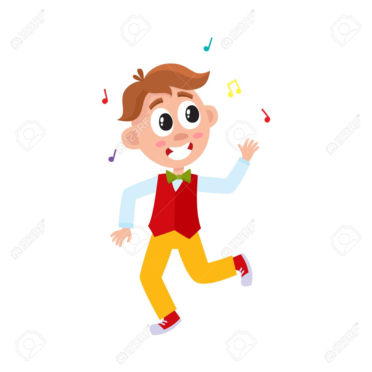 Vector vector flat cartoon boy child dancing alone in red waistcoat throwing music confetti smiling little dancer male character