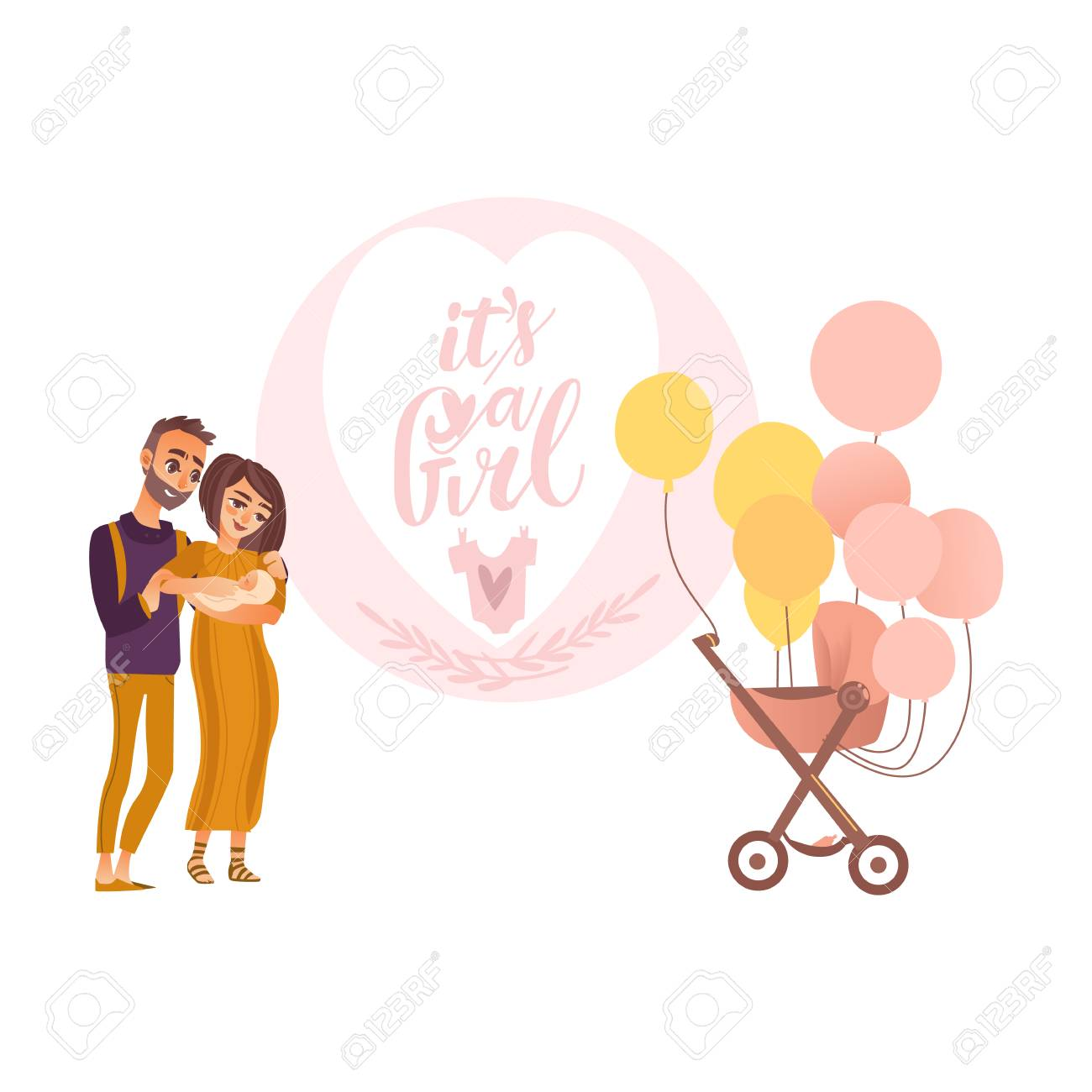Its a girl greeting card design with parents holding newborn its a girl greeting card design with parents holding newborn baby and pram decorated with balloons m4hsunfo
