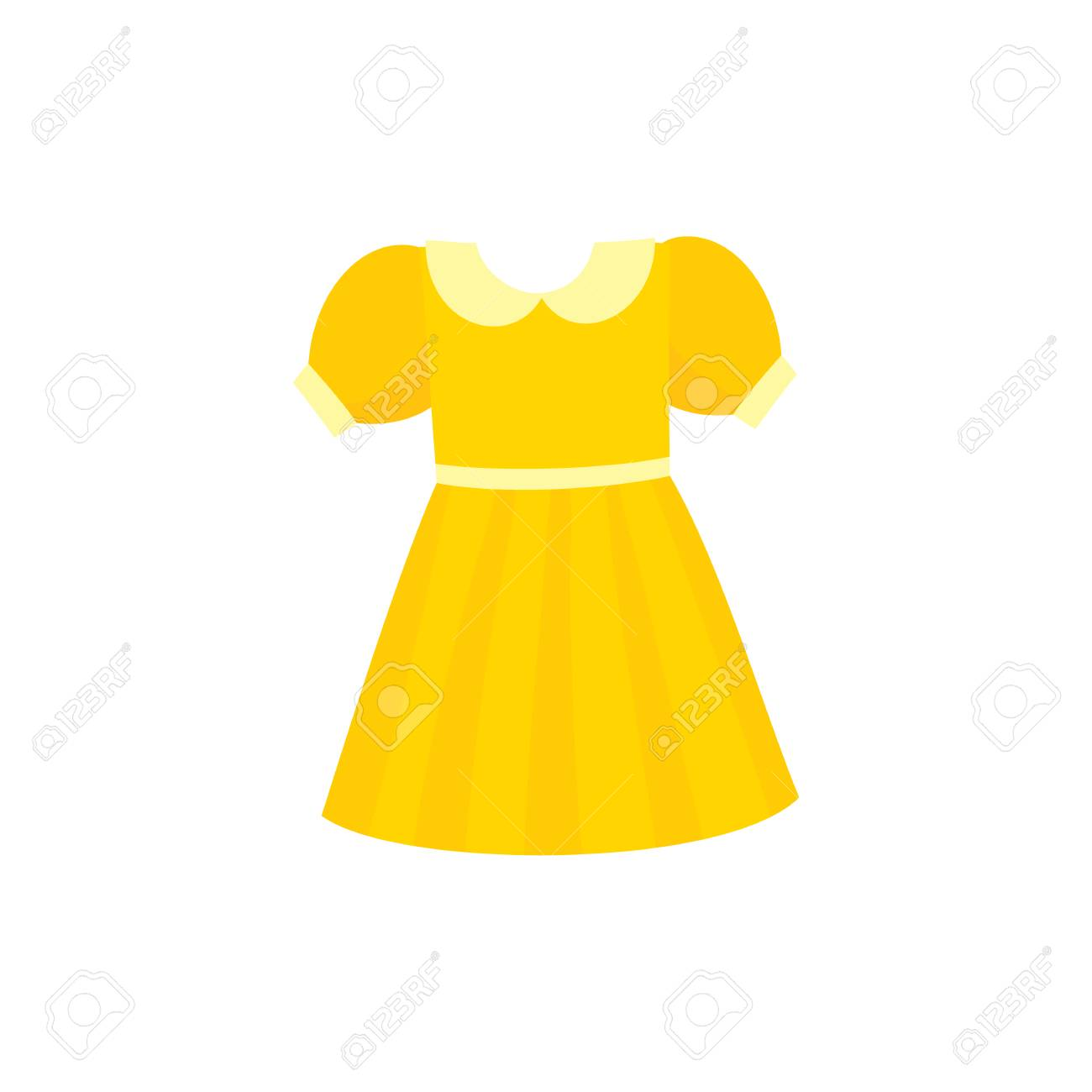 Yellow flare dress with round collar and balloon sleeves, cartoon vector illustration isolated on white background. Pretty girlish dress with round collar, flare dress, belt and balloon sleeves - 89875520