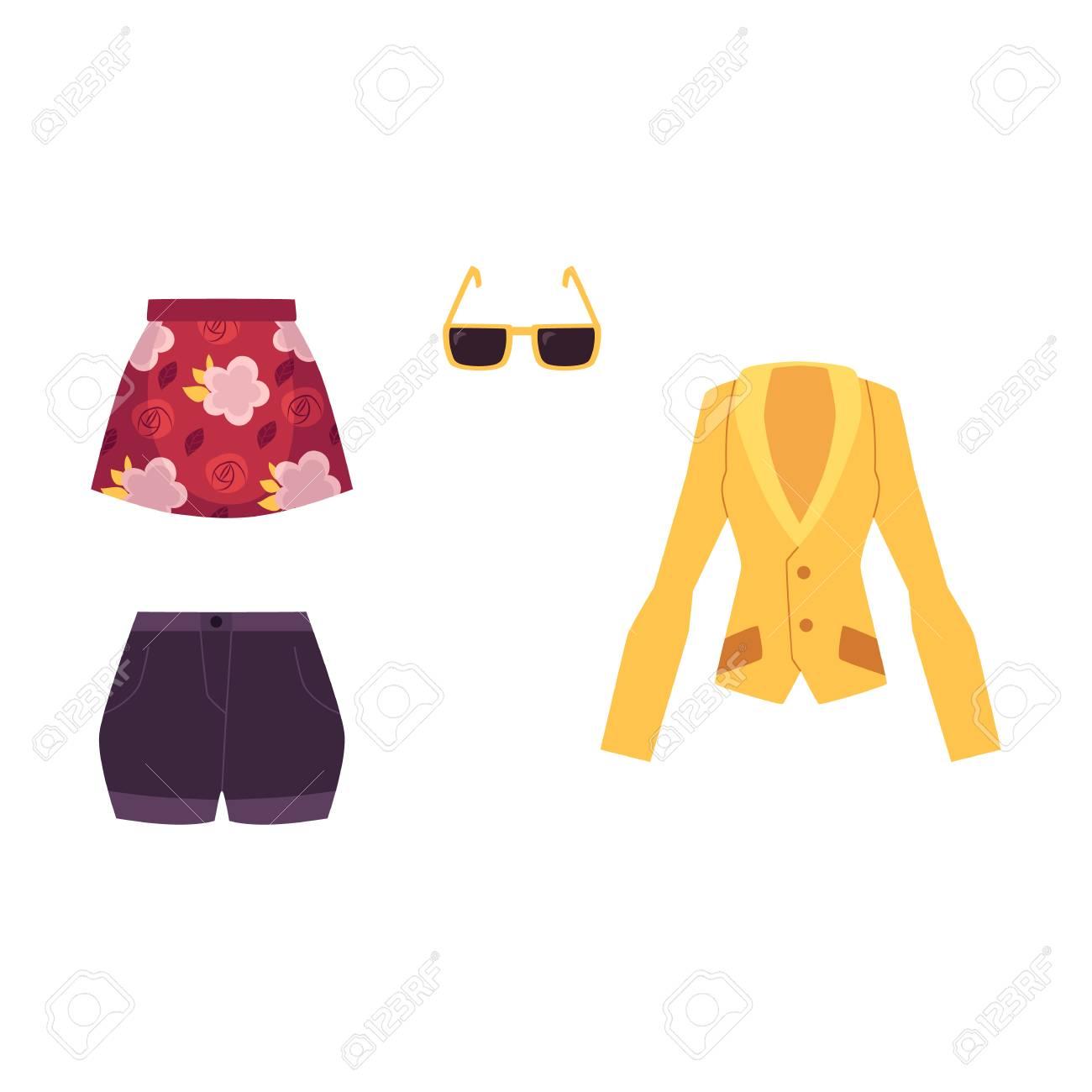 9bcbd57605a84c Tenue d'été - veste, mini jupe, shorts et lunettes de soleil, illustration  de vecteur de dessin animé isolé sur fond blanc. Vêtements d'été et ...