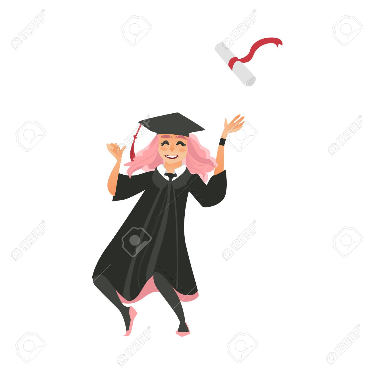 Girl In Graduation Cap And Gown Throwing Diploma Up, Dancing ...