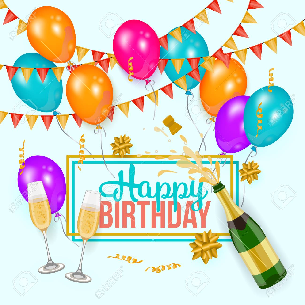 Happy Birthday Greeting Card Template With Champagne Bottle And - Card template birthday