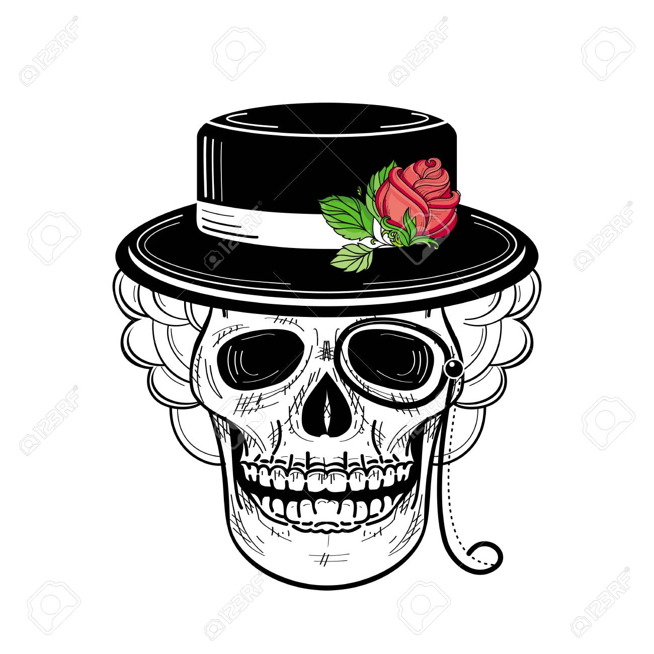 7c14af39ace Vector - vector sketch hand drawn skull tattoo black and whte in hat with  red rose with green stem and leaves and monocle. Isolated illustration on a  white ...