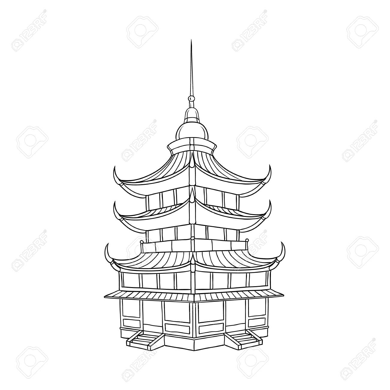 Traditional Japanese, Chinese, Asian pagoda building, flat style vector illustration isolated on white background. Traditional Japanese, Chinese, Asian pagoda building - 92134233