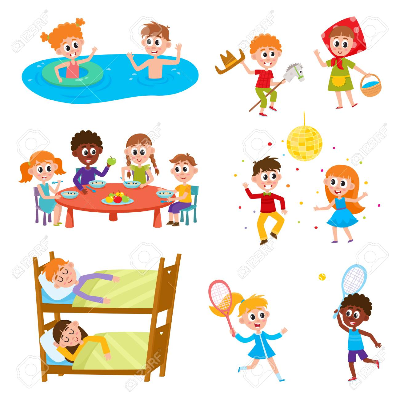 Set of kids, boys and girls on vacation in summer camp - eating, sleeping, playing, swimming, dancing, sleeping, cartoon vector illustration on white background. Happy kids in summer camp set - 92124220