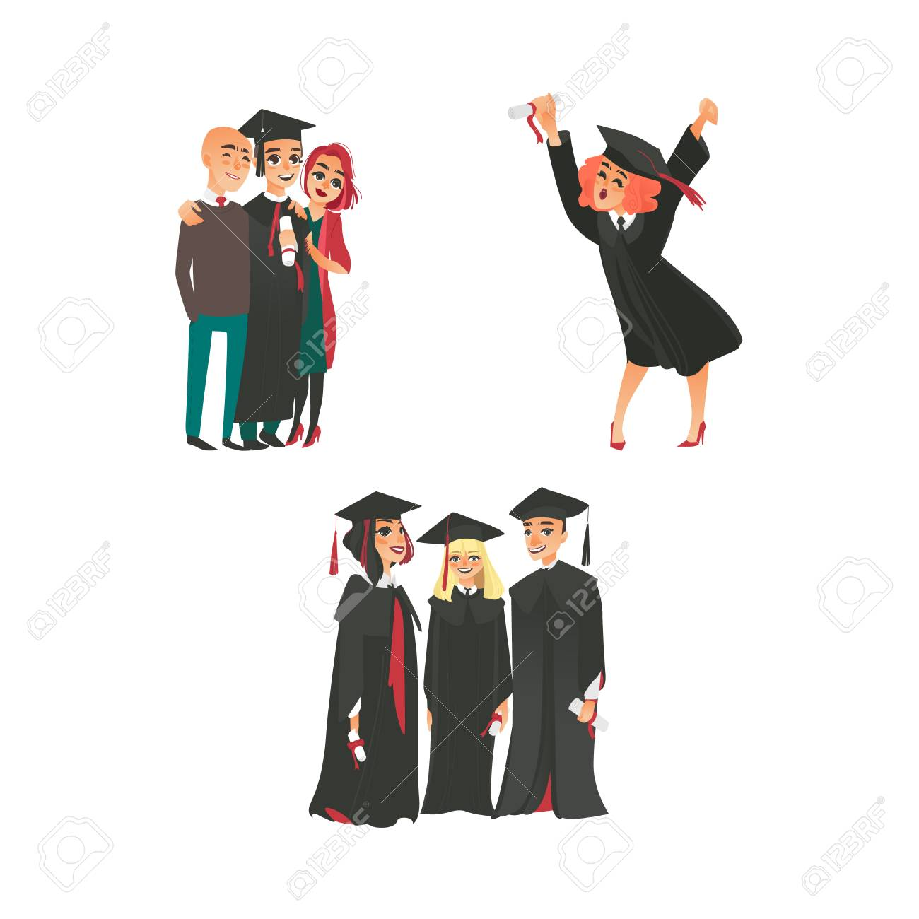 Happy College Graduates In Graduation Cap And Gown With Diplomas ...