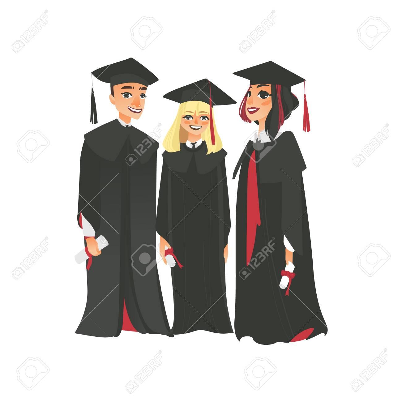 Group Of Three Happy College Graduates In Graduation Cap And ...