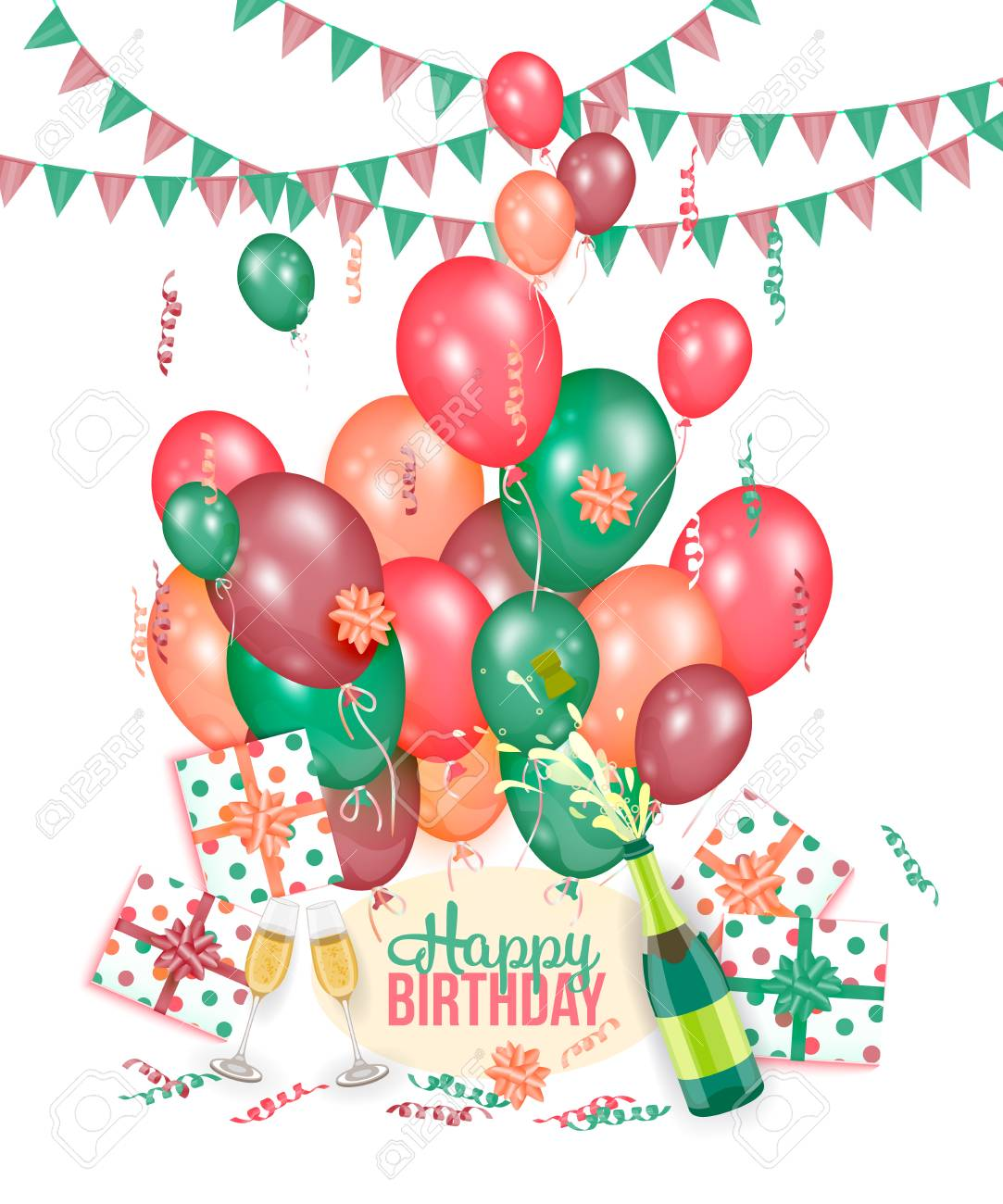 Happy Birthday Greeting Card With Champagne Balloons Presents