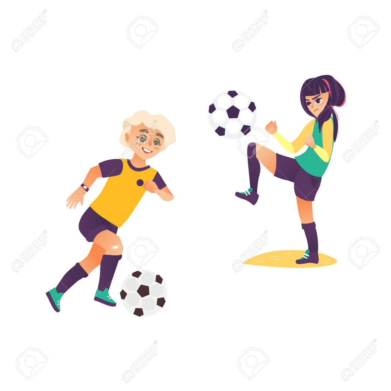 Kids Children Boy And Girl Playing Football Dribble Jiggling The Ball