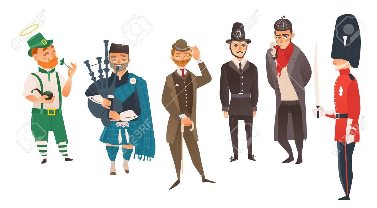 Gens De Dessin Animé De Vecteur Dans Le Jeu De Costumes Nationaux Du Royaume Uni Cornemuse écossaise Tenant Une Cornemuse Le Lutin Irlandais Tenant