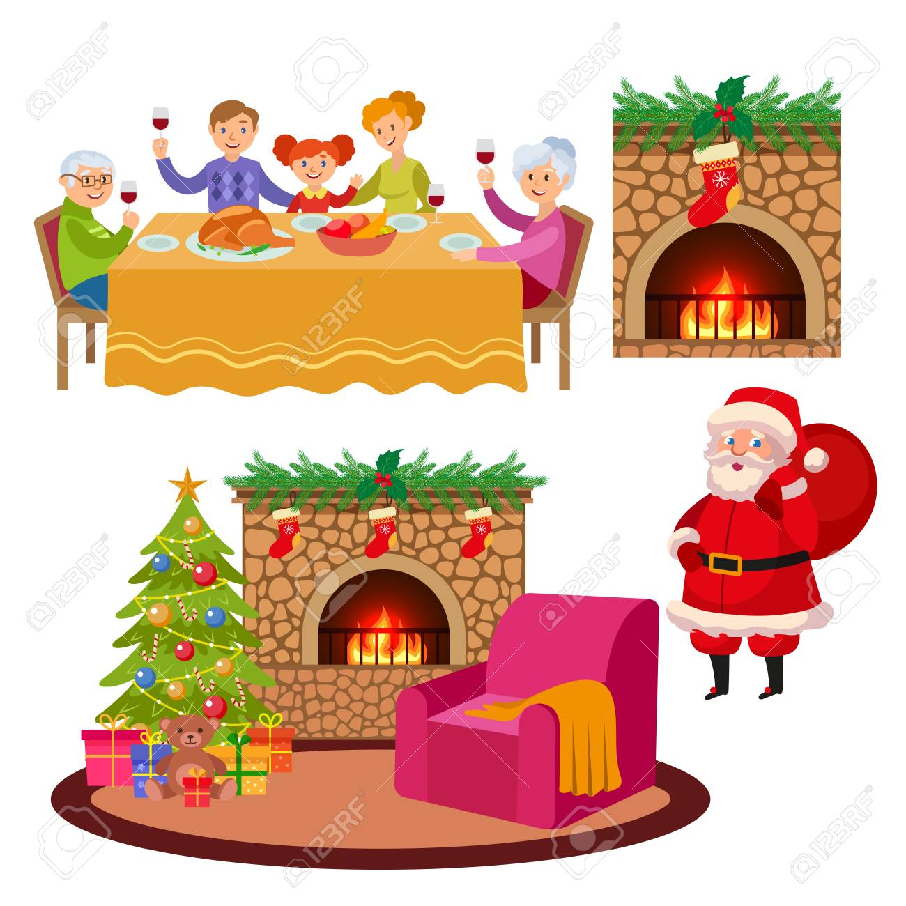 Christmas Fireplace Scene Clipart.Vector Christmas Holiday Scenes Set Santa Standing With Present