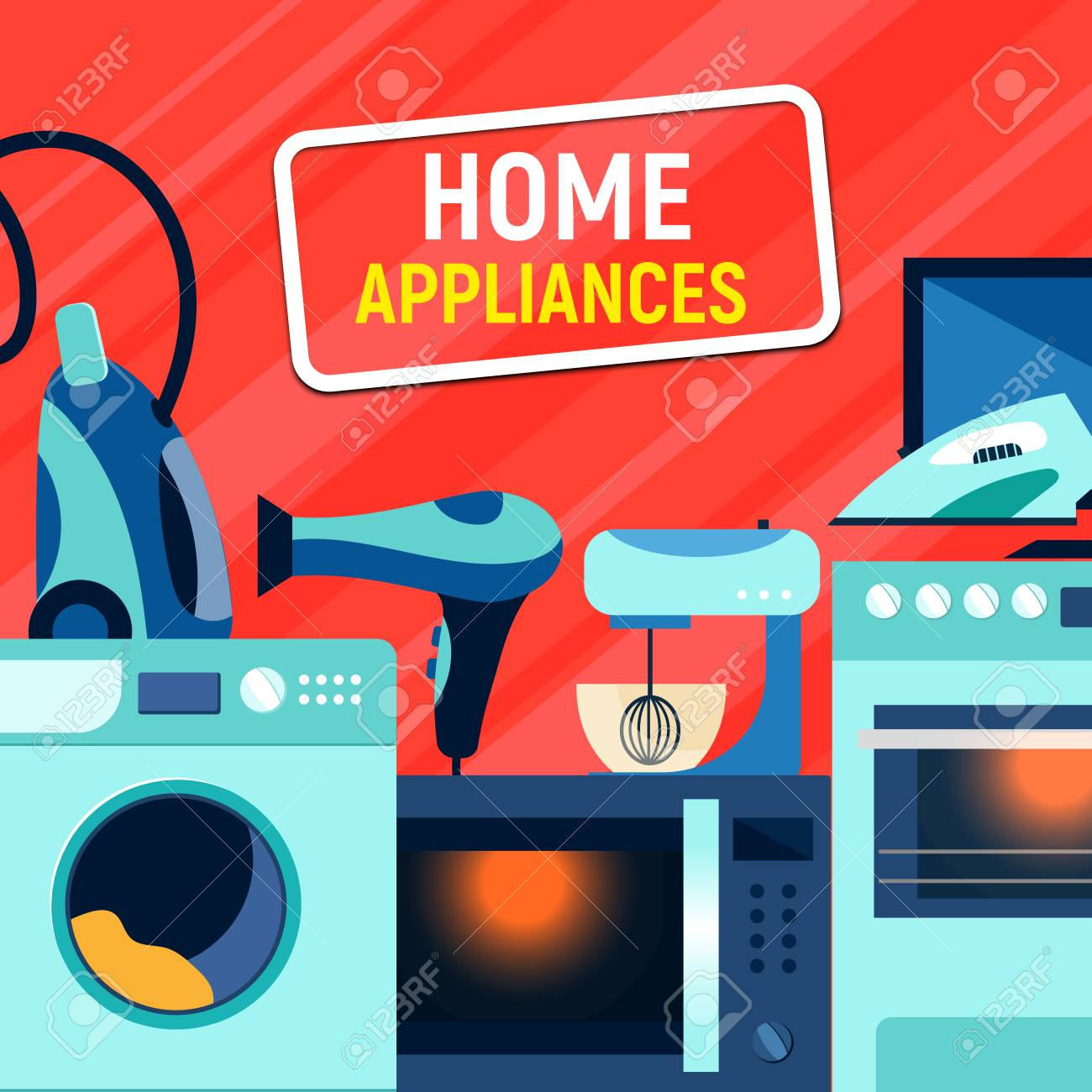 Shop Sale Banner Design With Flat Style Home Appliances Vector