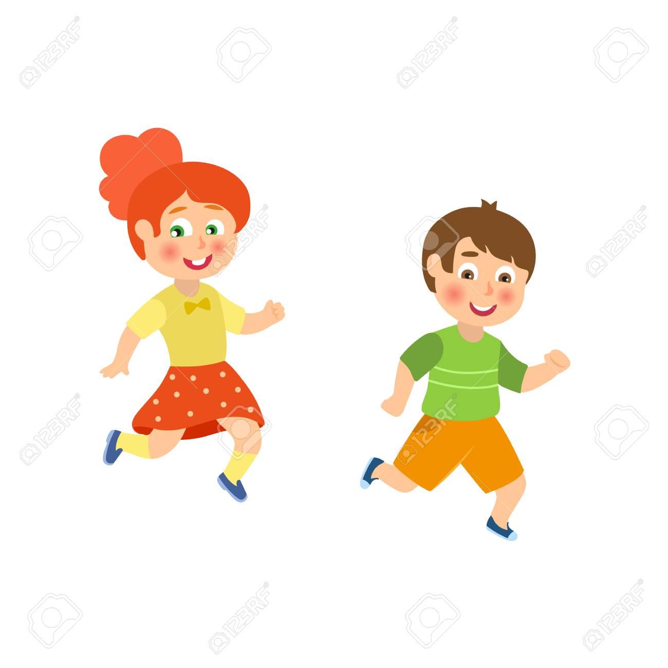 Criancas Criancas Menino E Menina Jogando Tag Correndo La Fora